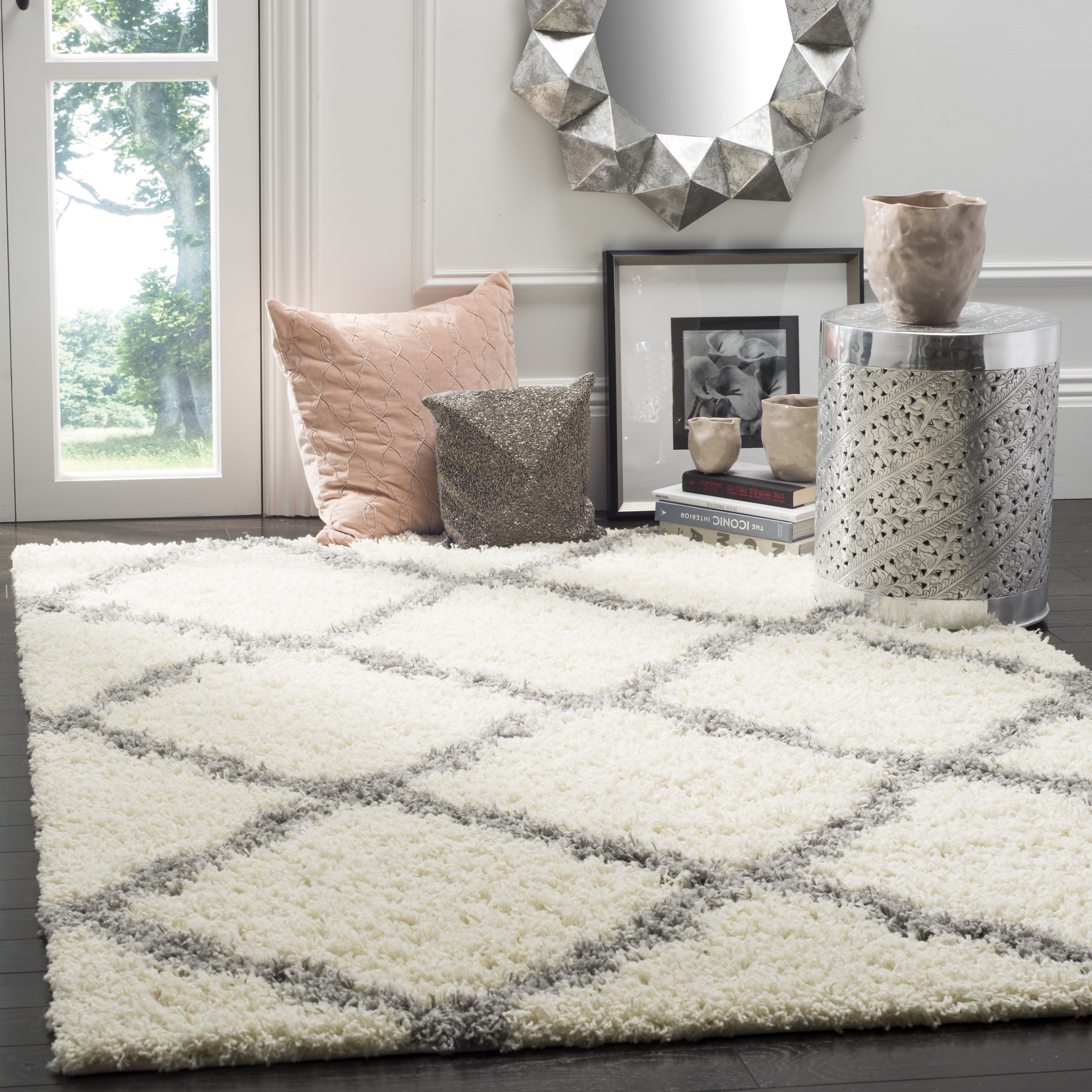 Andover Mills Ines Geometric Ivory Gray Area Rug Reviews Wayfair
