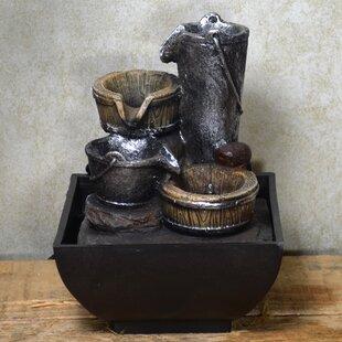 Stuart Resin Bucket Cascade Fountain With LED Light By August Grove