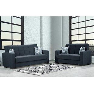 Cornett Living Room Set, Sofa-Loveseat, Black By Latitude Run