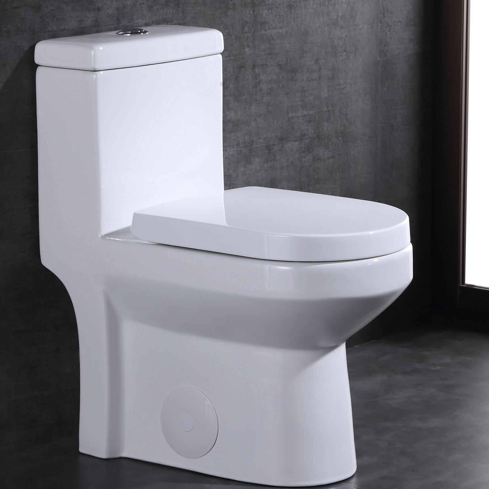 Super Dual Flush 1 28 Gpf Elongated One Piece Toilet Seat Included Caraccident5 Cool Chair Designs And Ideas Caraccident5Info