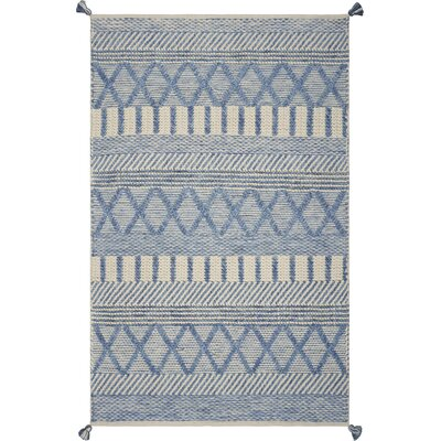 Bungalow Rose Armistead Handwoven Flatweave Ivory/Blue Area Rug Rug Size: Rectangle 3'3 x 5'3