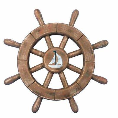 Handcrafted Nautical Decor Ship Wheel Wall Décor Colour: Brown