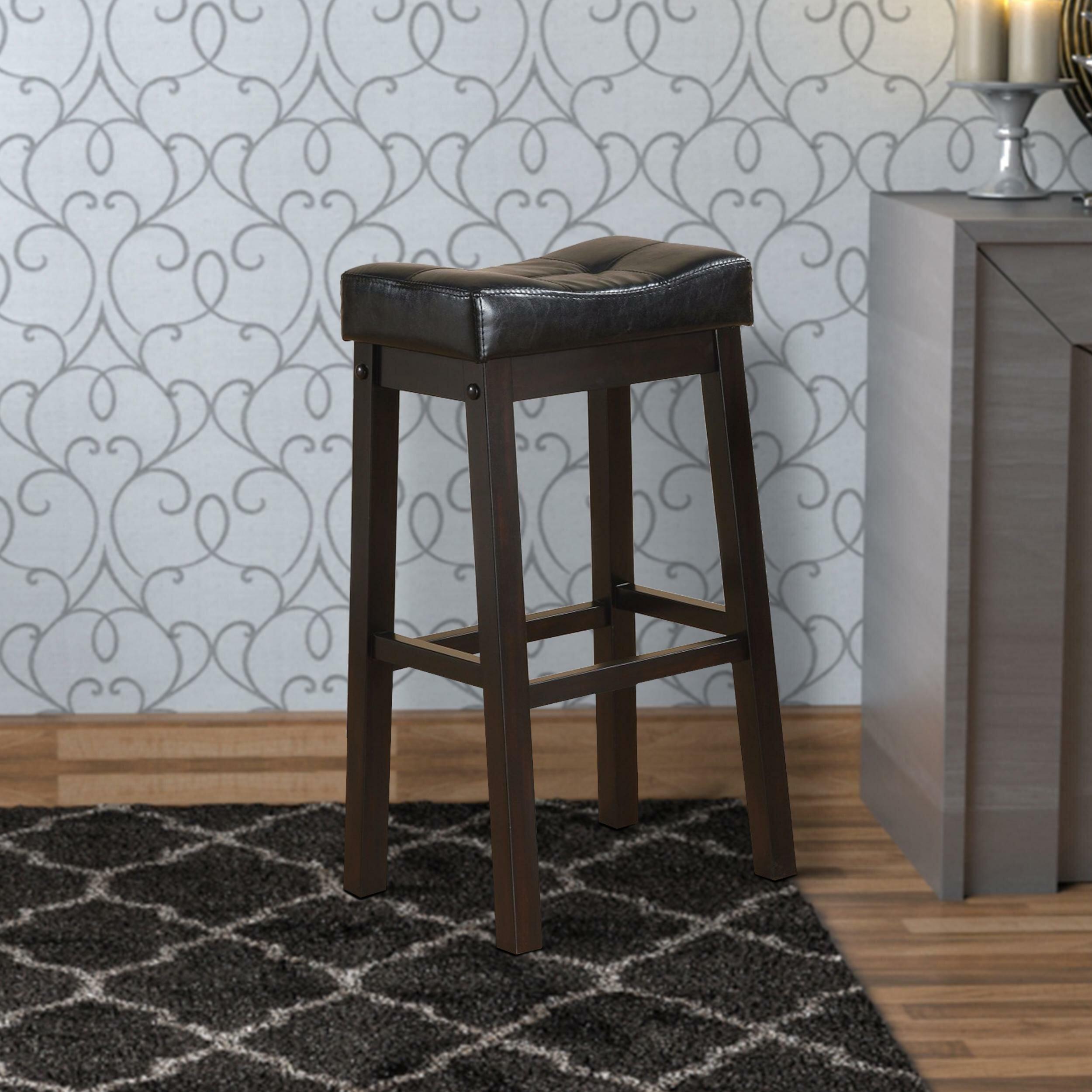 9 Round Black Padded Seat PU Leather Kitchen Bar Stool Set ...