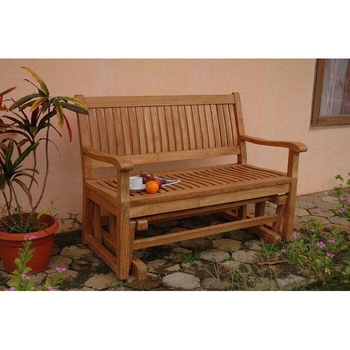 Brilliant Del Amo Teak Garden Glider Bench Gmtry Best Dining Table And Chair Ideas Images Gmtryco