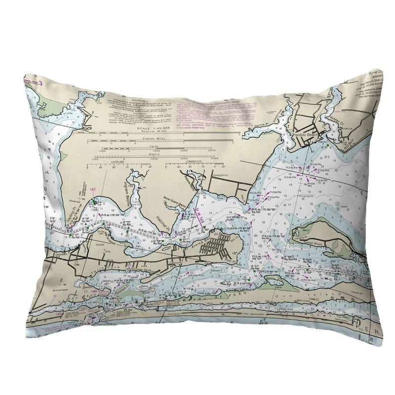 Highland Dunes Sipos Beach Al Nautical Map Indoor Outdoor Lumbar Pillow Wayfair