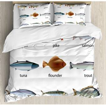 East Urban Home Mix Of Colorful Bull Shark Family Pattern Masters Of Survival Kids Nursery Duvet Cover Set Wayfair
