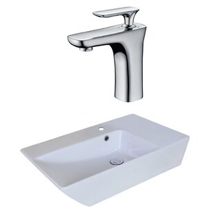 Reviews Ceramic Rectangular Vessel Bathroom Sink with Faucet and Overflow ByAmerican Imaginations