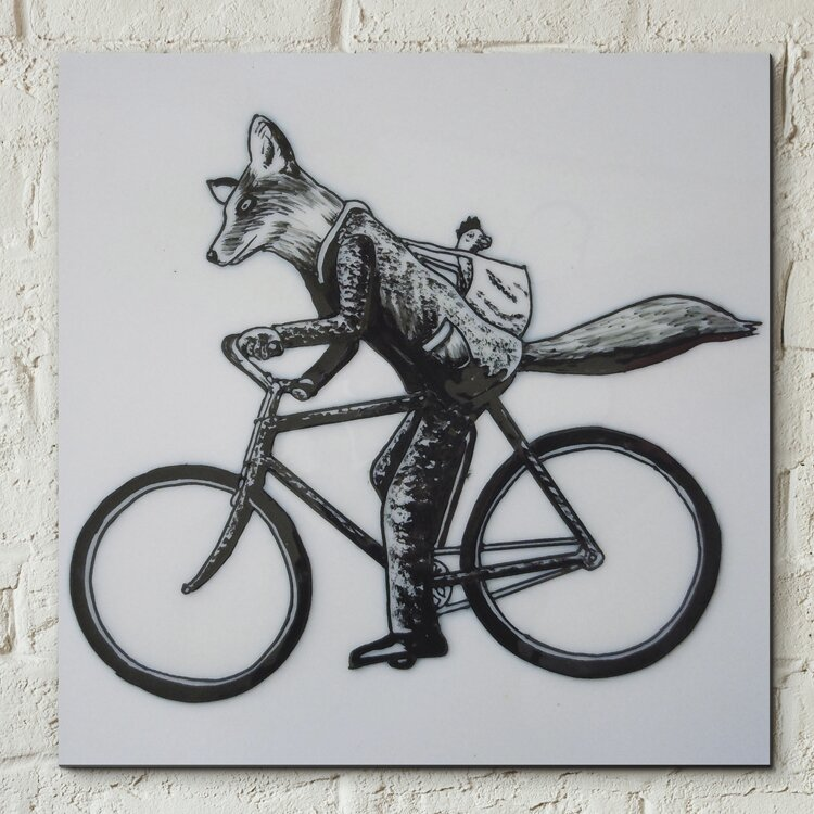 castleton home wanddekoration vintage fox on bicycle