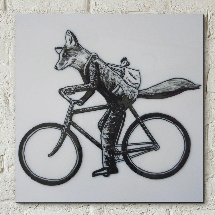 Castleton home wanddekoration vintage fox on bicycle for Wanddekoration vintage
