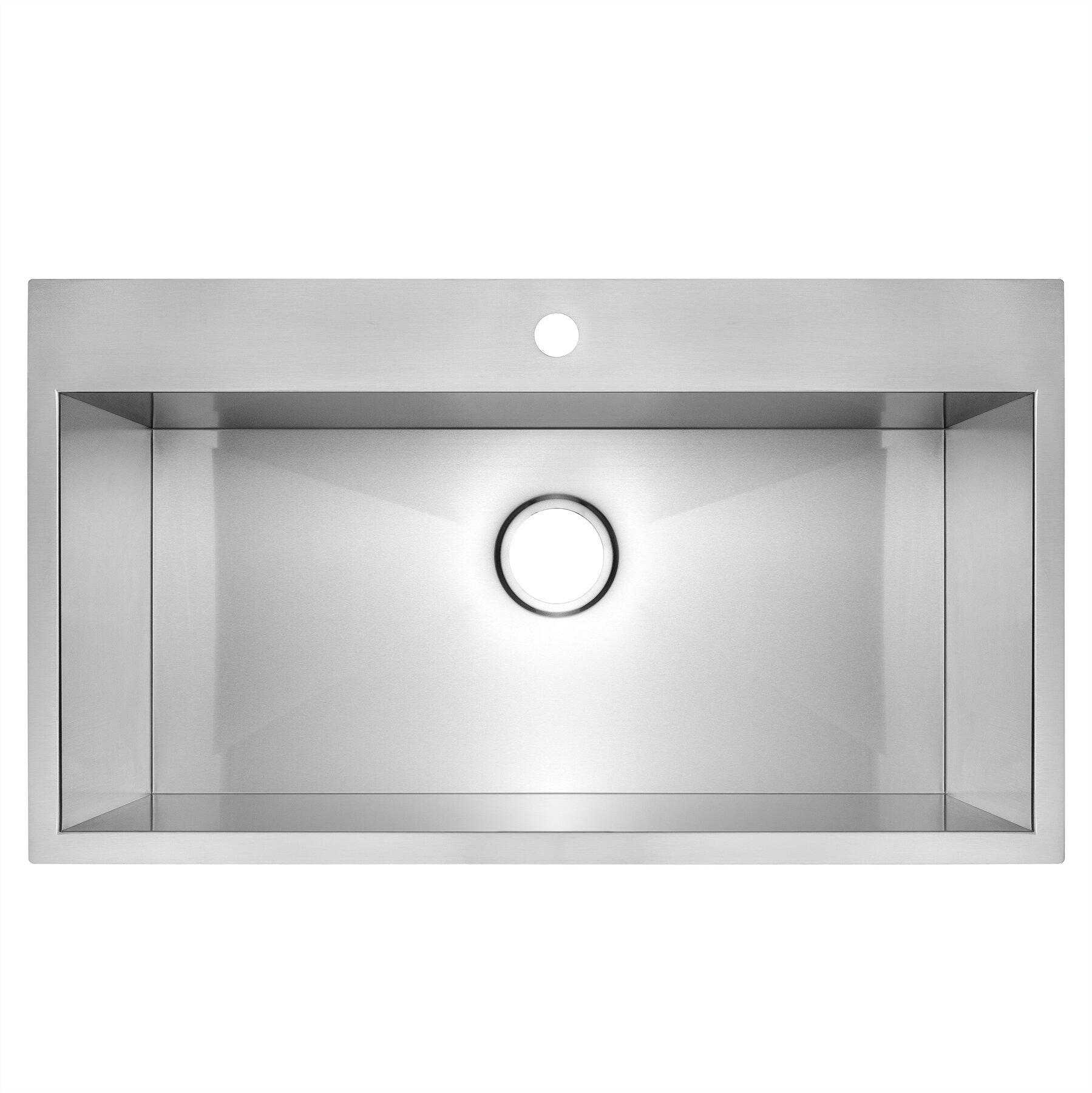 Akdy 30 X 18 Drop In Top Mount Stainless Steel Single Bowl Kitchen Sink Reviews Wayfair