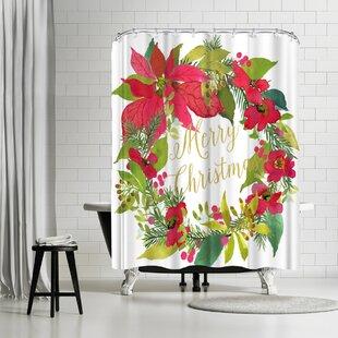 Read Reviews Edith Jackson Wreath Shower Curtain ByEast Urban Home