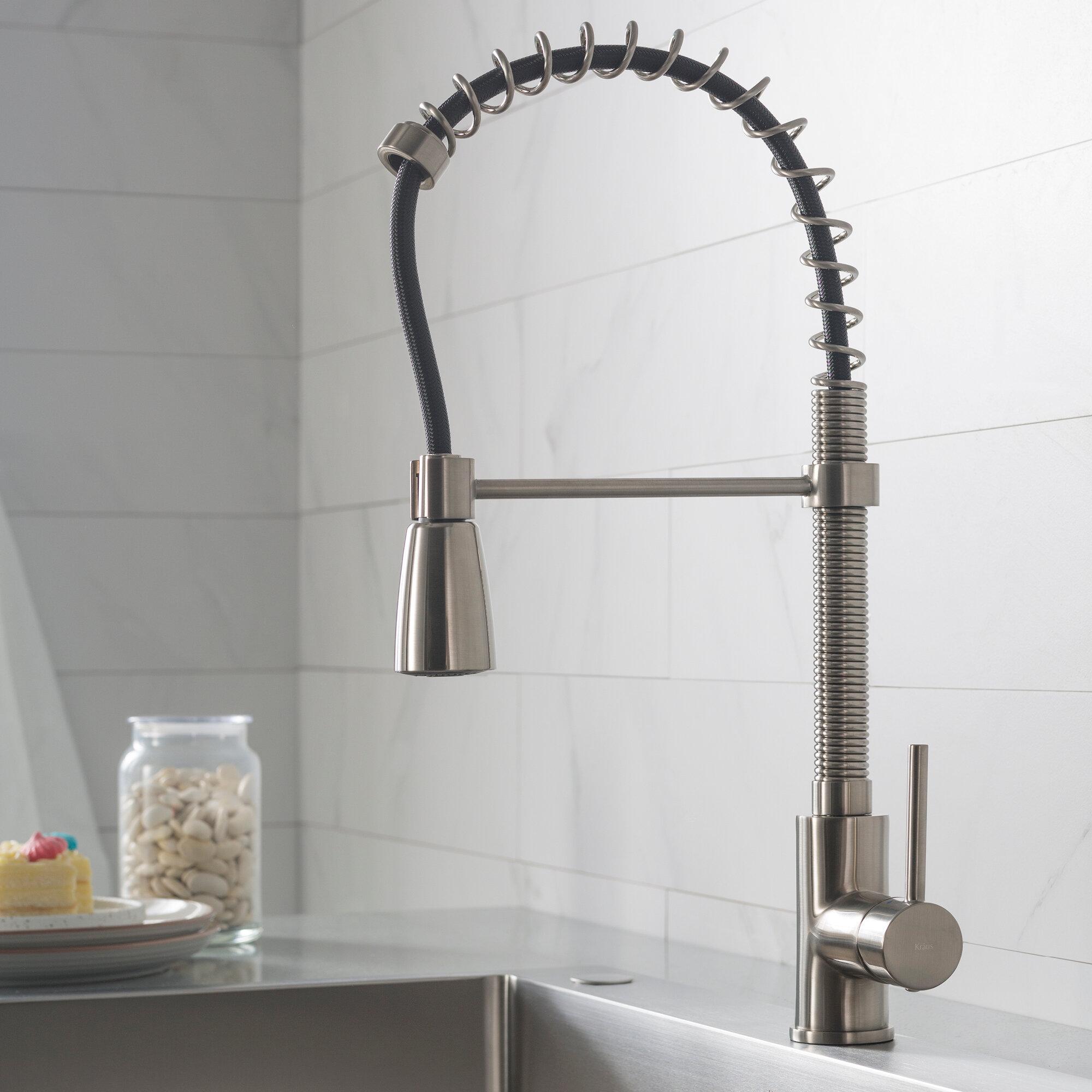 Kpf 1612ss Kraus Pull Down Single Handle Kitchen Faucet Reviews Wayfair