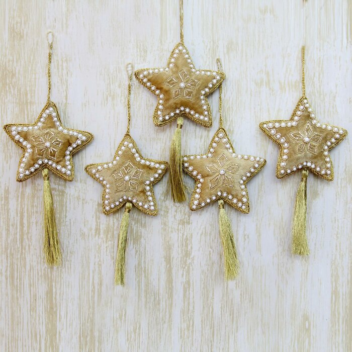 Beaded Christmas Ornaments.Hand Crafted Beaded Christmas Star Ornament