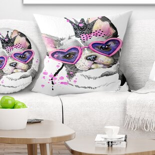 Animal Sweet Funny Dog with Glasses Pillow