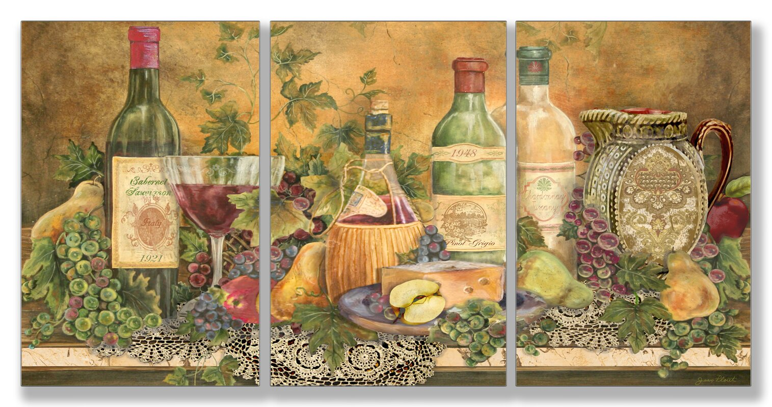 August Grove Grapes of Tuscany Triptych 3 Piece Wall Plaque Set ...