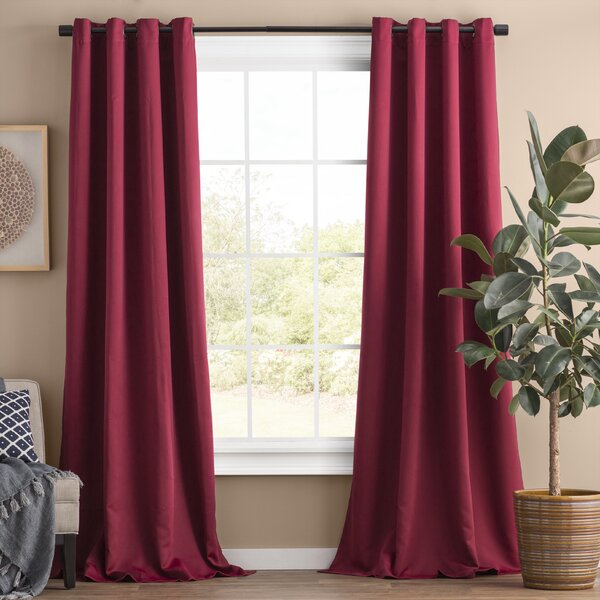 """2PC BRIGHT  RED SOLID 8 GROMMET WINDOW CURTAIN DROP Fully Stitched  63/"""" LENGTH"""