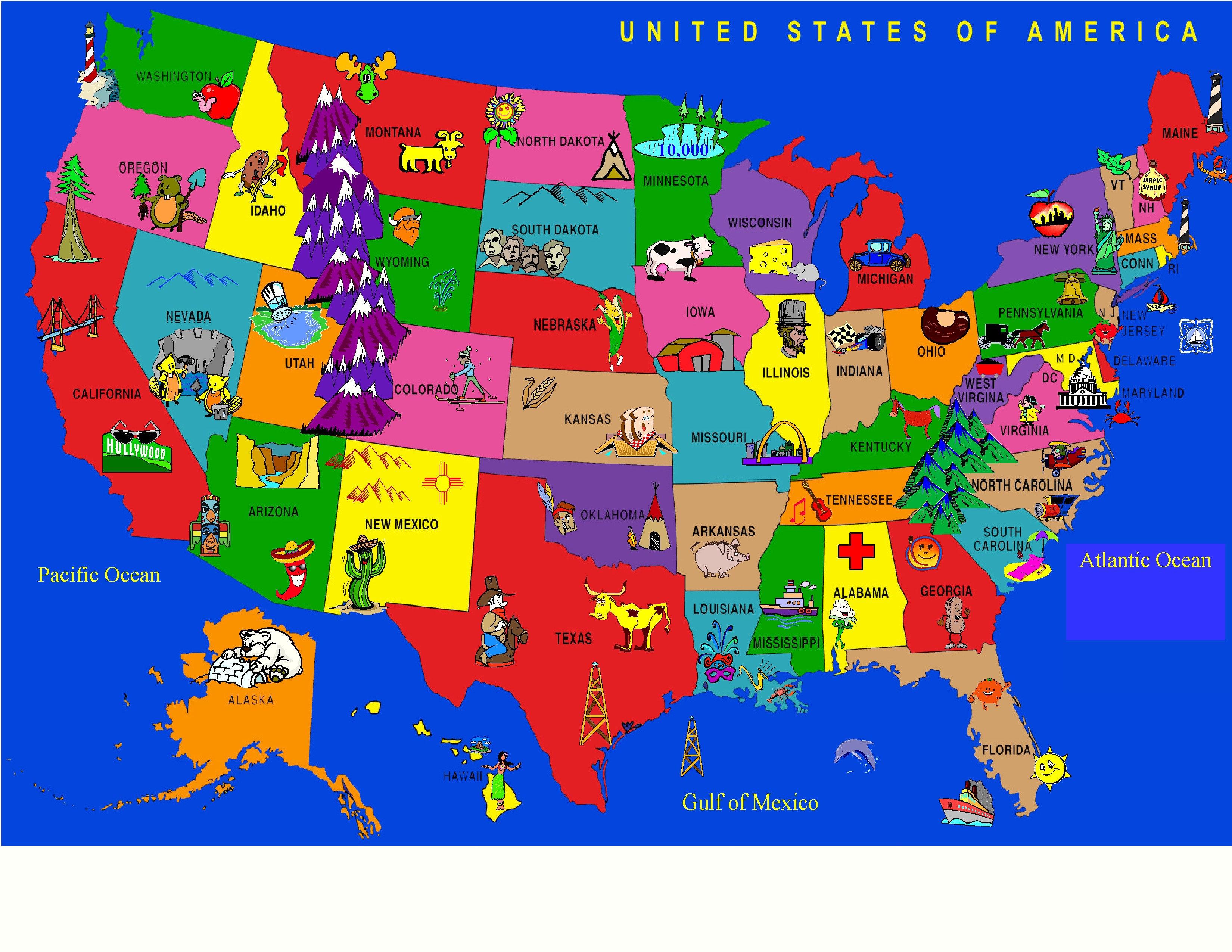 Kids World Fun Learning USA Cartoon Map Power Loomed Area Rug ...