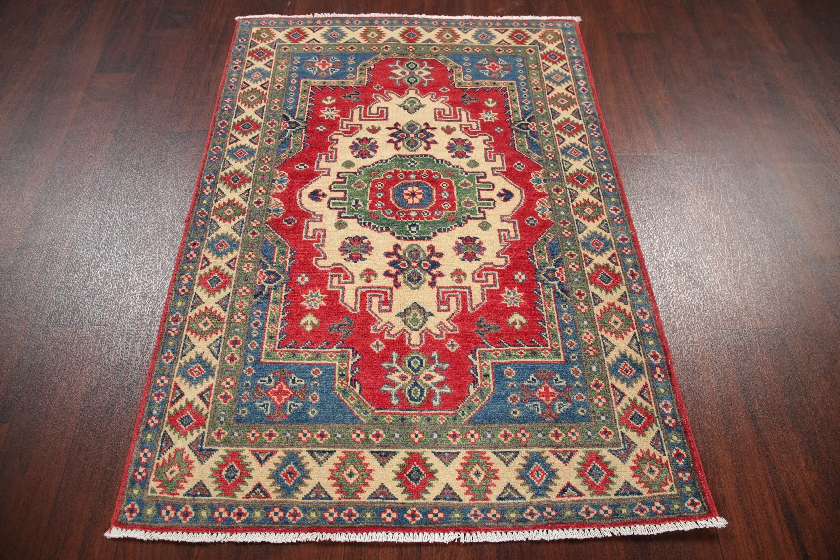 Rugsource One Of A Kind Hand Knotted 2010s Kazak Red Blue Beige 3 4 X 4 8 Wool Area Rug Wayfair