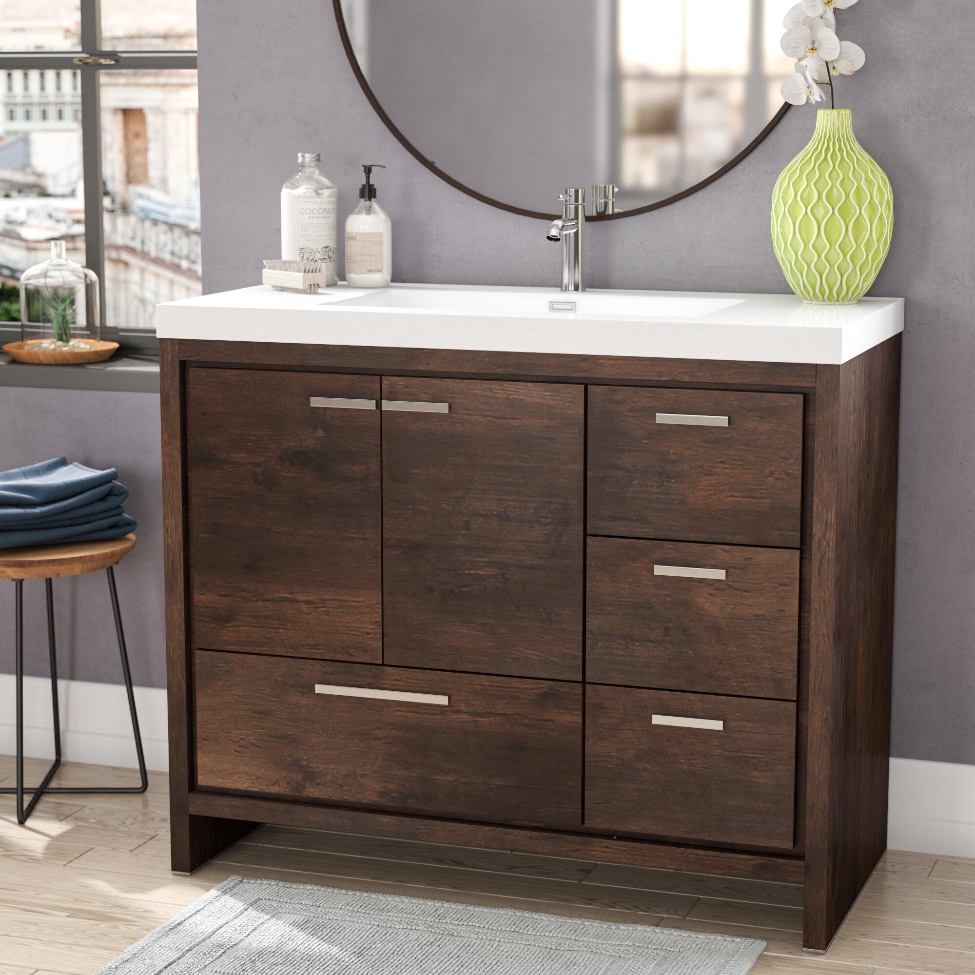 Ivy Bronx Harger Free Standing Modern 42 Rectangular Single Bathroom Vanity Set Reviews Wayfair