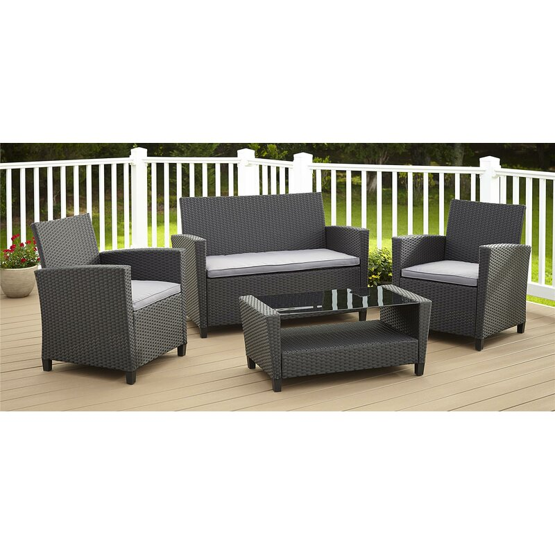 Wrought Studio Feltonville 4 Piece Rattan Sofa Seating Group With Cushions Reviews Wayfair