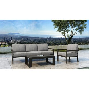 Iliana 3 Piece Deep Seating Group with Sunbrella Cushions (Set of 3)