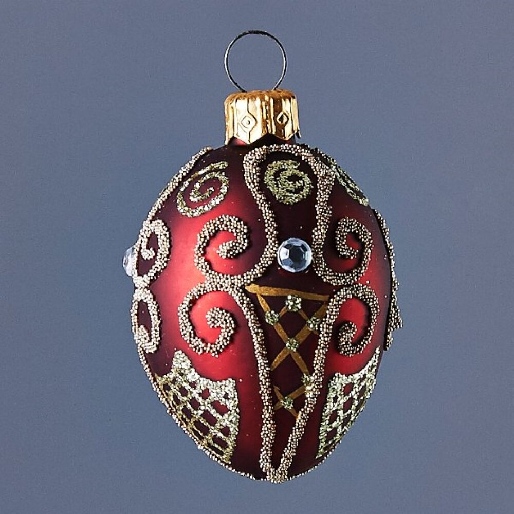 The Holiday Aisle Ruby Oval With Gold Design Work Ball Ornament Wayfair