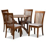 Aizel 5 - Piece Rubberwood Solid Wood Dining Set by Red Barrel Studio®
