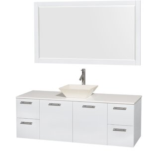 Coupon Amare 60 Single White Bathroom Vanity Set with Mirror ByWyndham Collection