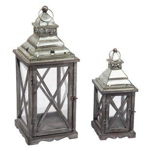 Best Deals 2 Piece Wood/Metal Lantern Set By Gracie Oaks
