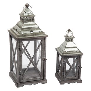 Read Reviews 2 Piece Wood/Metal Lantern Set By Gracie Oaks