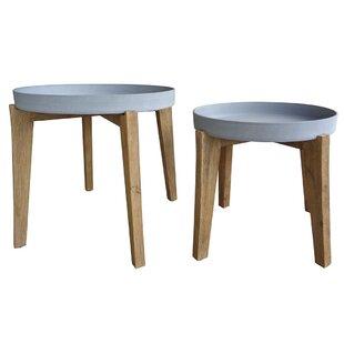 Hartnett 2 Piece Solid Wood Side Table Set Image