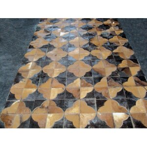 Patchwork Leather Geo Brown Area Rug