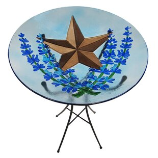Leigh Country Bluebonnet and Star Glass Birdbath