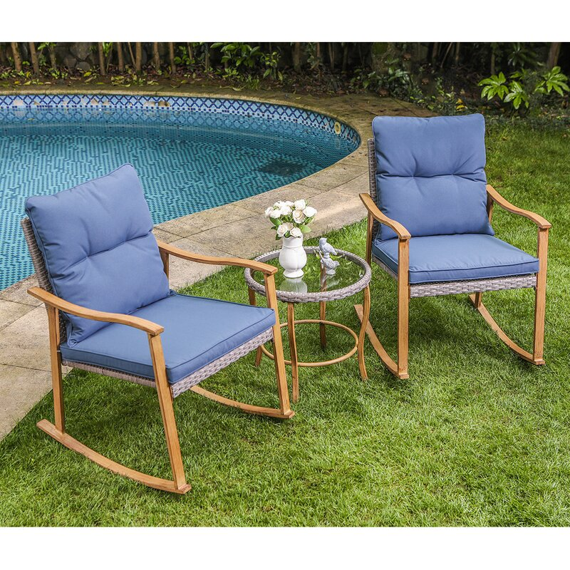 Highland Dunes 3-Piece Outdoor Patio Furniture Faux Woodgrain