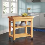 Wulfram Kitchen Cart with Butcher Block Top by Winston Porter