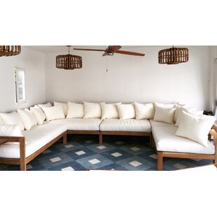 Trijaya Living Manhattan 5 Piece Teak Sunbrella Sectional Set with Cushions