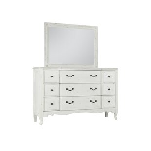 Inexpensive Zeke 9 Drawer Double Dresser with Mirror by One Allium Way
