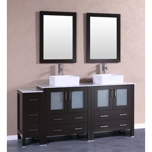 Stanton 71 Double Bathroom Vanity Set with Mirror by Bosconi