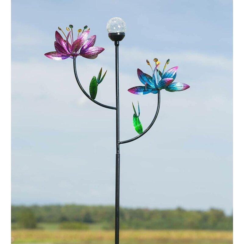 Flower Garden Wind Spinner With Solar Ball