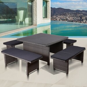 Aquia Creek Low Patio 5 Piece Dining Set with Cushions