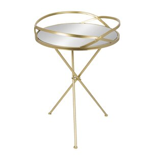 Hemington Round Mirrored Metal End Table by Mercer41