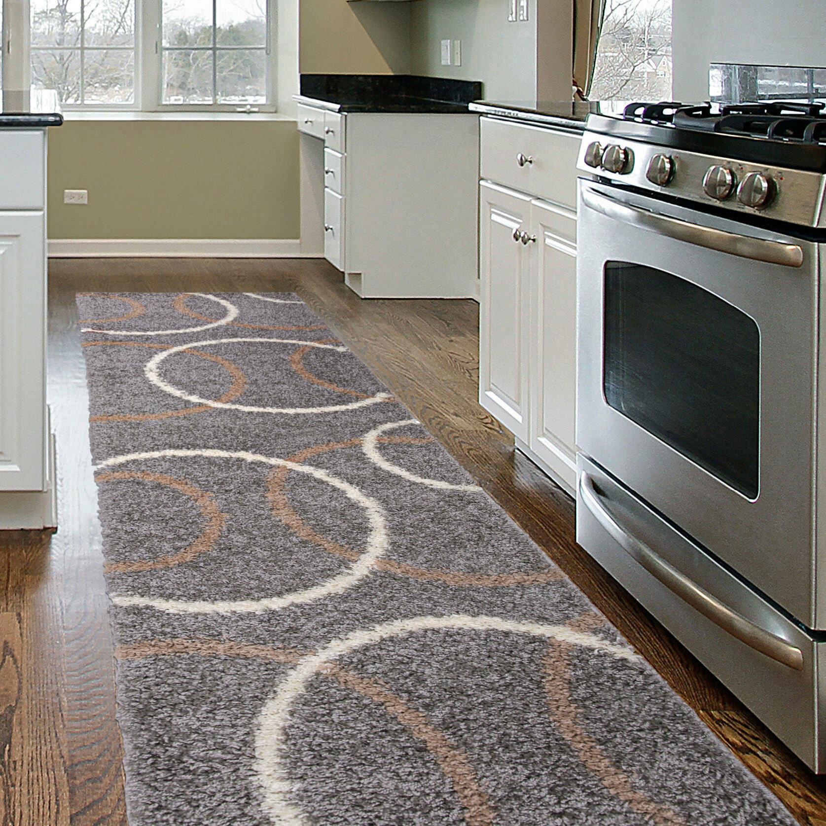 Ebern Designs Samantha Geometric Shag Gray Silver Area Rug Reviews Wayfair