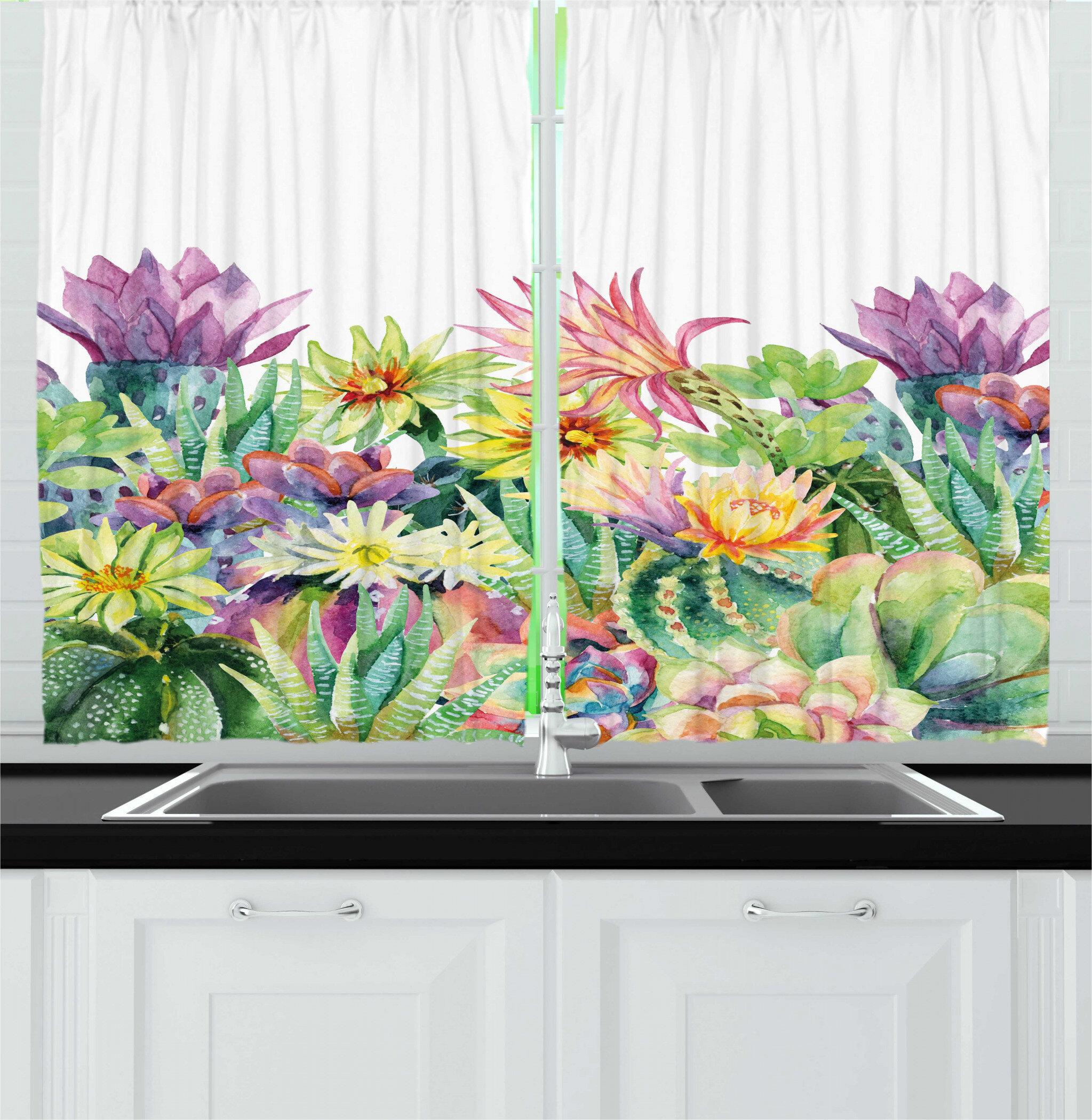East Urban Home 2 Piece Watercolor Fine Art Botanical Painting Of Garden Flowers And Succulents Kitchen Curtain Set Wayfair
