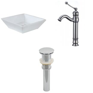 Compare prices Ceramic Square Vessel Bathroom Sink with Faucet ByAmerican Imaginations