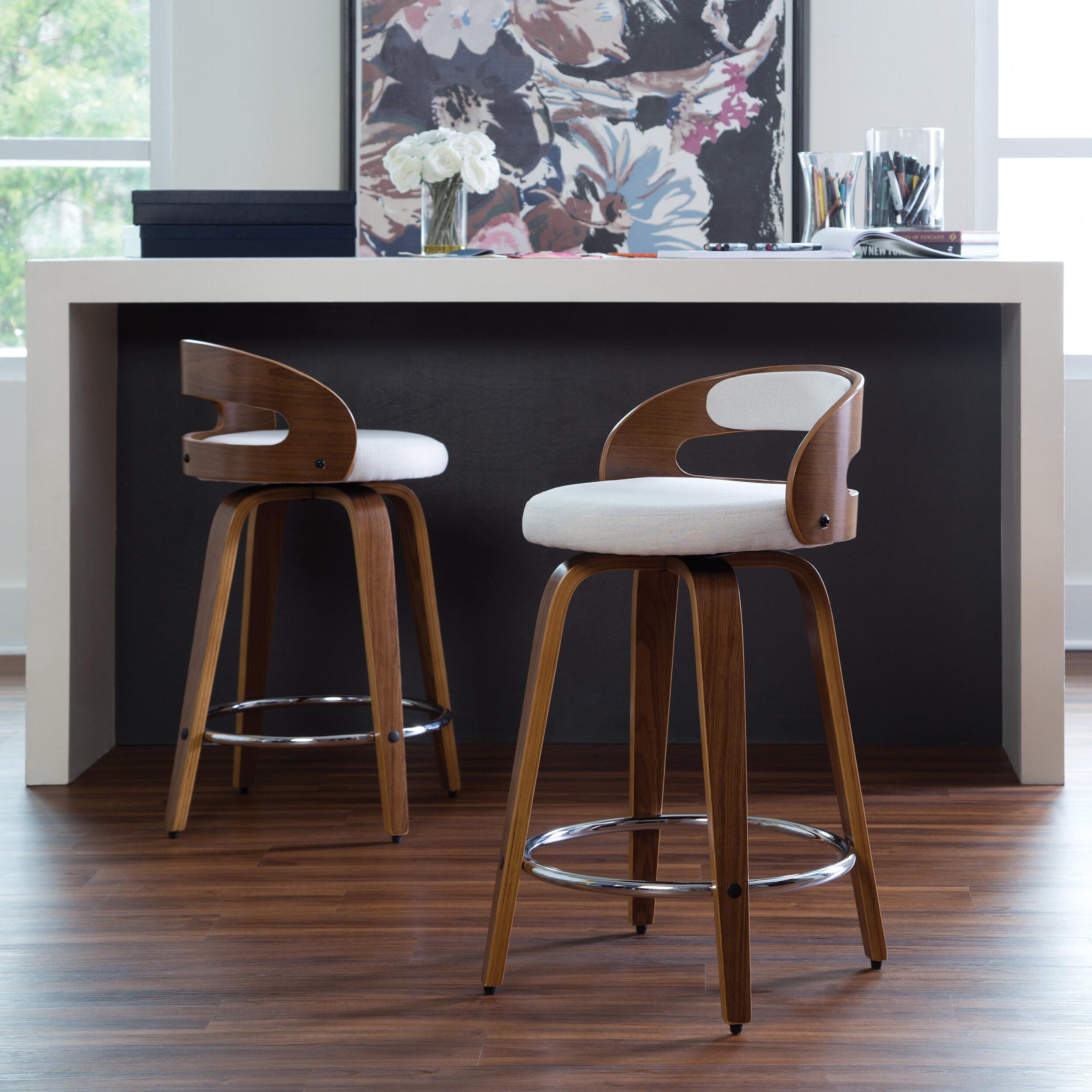 Peachy Lacayo Mid Century Modern Low Back Bentwood Frame 24 Swivel Bar Stool Cjindustries Chair Design For Home Cjindustriesco