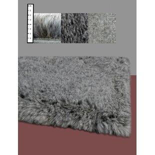 Benes Faux Flokati Gray Area Rug by Ebern Designs