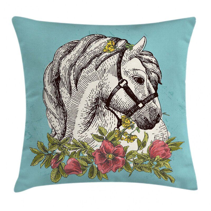 East Urban Home Boho Horse Opium Blossoms Poppy Wreath Indoor Outdoor 28 Throw Pillow Cover Wayfair