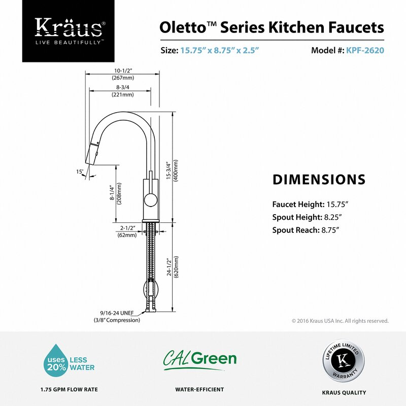 Kraus Oletto Pull Down Single Handle Kitchen Faucet & Reviews   Wayfair