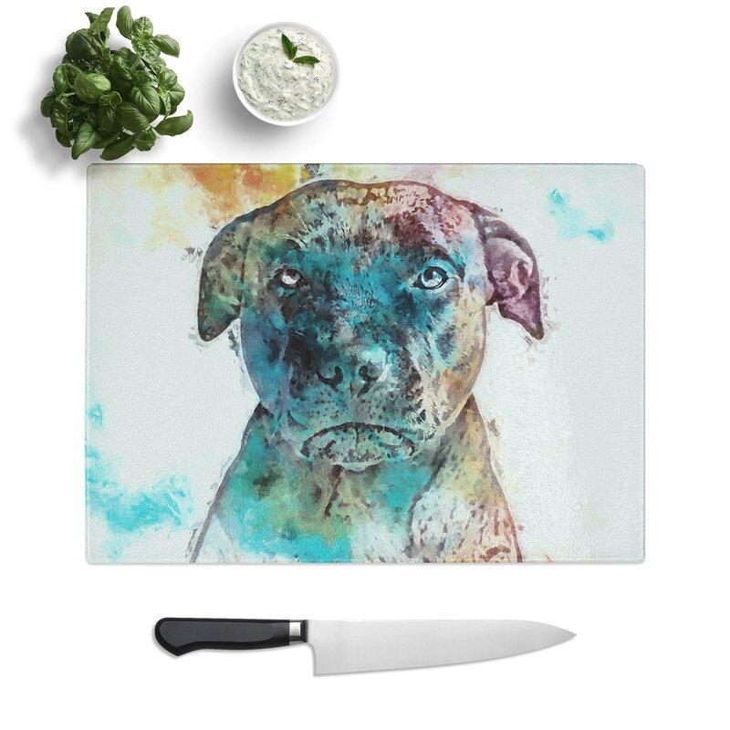 East Urban Home Tempered Glass A Staffordshire Bull Terrier Dog Chopping Board Wayfair Co Uk