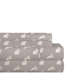 Red Barrel Studio Gerst Gray Bunnies 200 Thread Count 100% Cotton Sheet Set